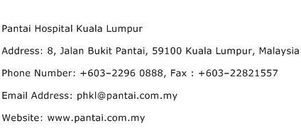 Pantai Hospital Kuala Lumpur Address Contact Number