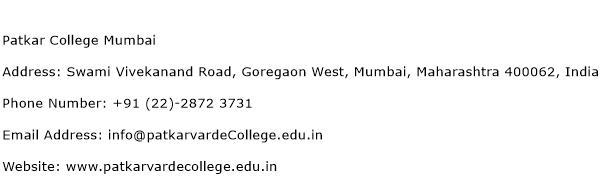 Patkar College Mumbai Address Contact Number