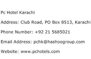 Pc Hotel Karachi Address Contact Number