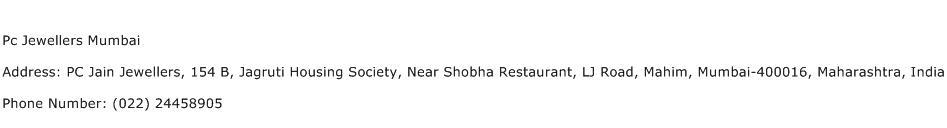 Pc Jewellers Mumbai Address Contact Number