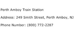 Perth Amboy Train Station Address Contact Number