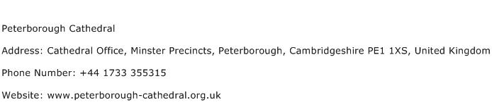 Peterborough Cathedral Address Contact Number
