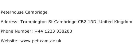Peterhouse Cambridge Address Contact Number