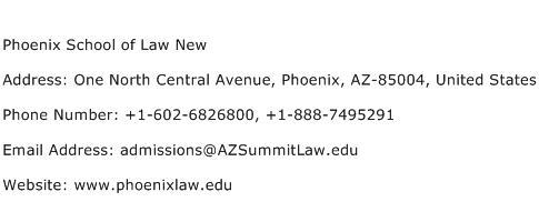 Phoenix School of Law New Address Contact Number
