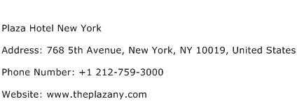 Plaza Hotel New York Address Contact Number
