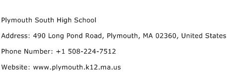 Plymouth South High School Address Contact Number