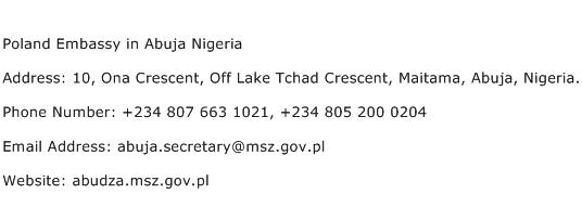 Poland Embassy in Abuja Nigeria Address Contact Number