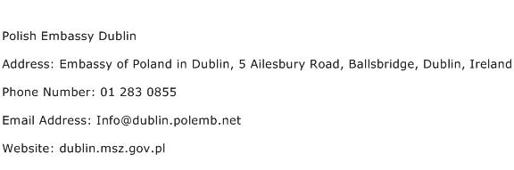 Polish Embassy Dublin Address Contact Number