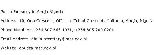 Polish Embassy in Abuja Nigeria Address Contact Number