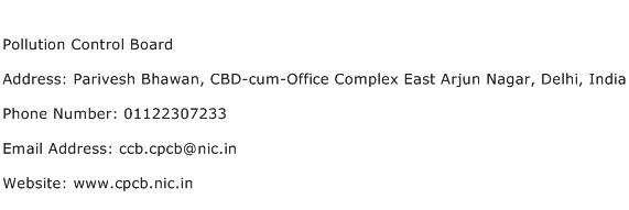 Pollution Control Board Address Contact Number
