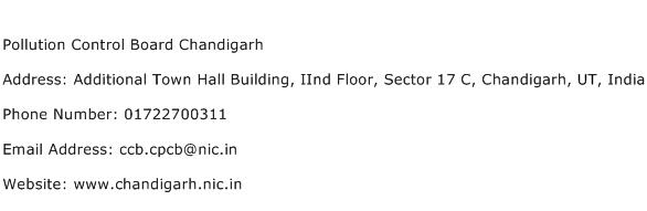 Pollution Control Board Chandigarh Address Contact Number
