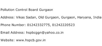 Pollution Control Board Gurgaon Address Contact Number