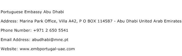 Portuguese Embassy Abu Dhabi Address Contact Number