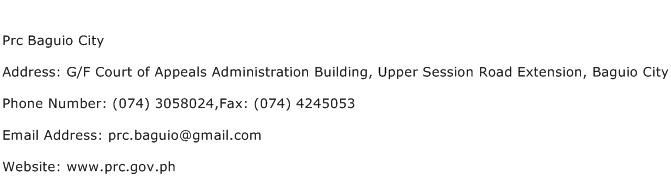 Prc Baguio City Address Contact Number