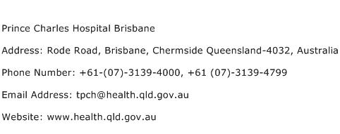 Prince Charles Hospital Brisbane Address Contact Number