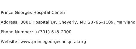 Prince Georges Hospital Center Address Contact Number