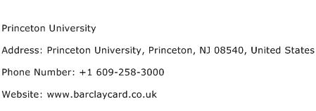 Princeton University Address Contact Number