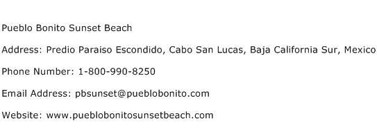Pueblo Bonito Sunset Beach Address Contact Number