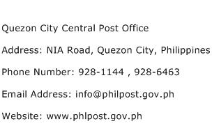 Quezon City Central Post Office Address Contact Number