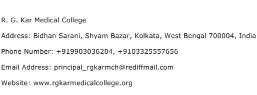 R. G. Kar Medical College Address Contact Number