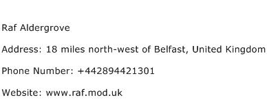 Raf Aldergrove Address Contact Number