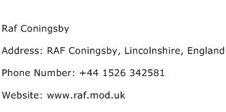 Raf Coningsby Address Contact Number