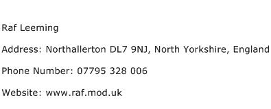 Raf Leeming Address Contact Number