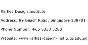 Raffles Design Institute Address Contact Number