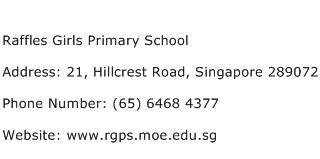 Raffles Girls Primary School Address Contact Number