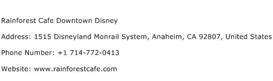 Rainforest Cafe Downtown Disney Address Contact Number