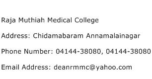 Raja Muthiah Medical College Address Contact Number