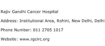 Rajiv Gandhi Cancer Hospital Address Contact Number