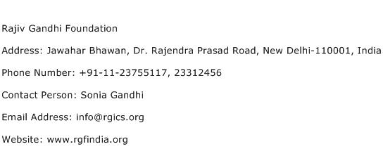 Rajiv Gandhi Foundation Address Contact Number