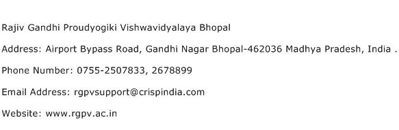 Rajiv Gandhi Proudyogiki Vishwavidyalaya Bhopal Address Contact Number