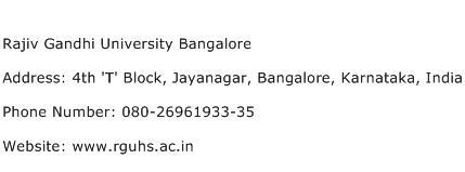 Rajiv Gandhi University Bangalore Address Contact Number