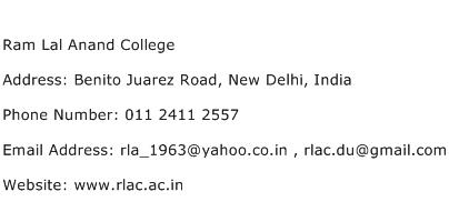 Ram Lal Anand College Address Contact Number