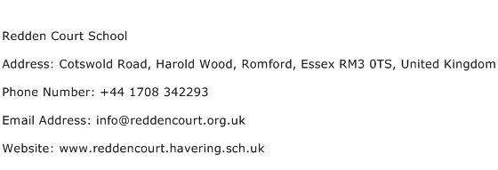 Redden Court School Address Contact Number