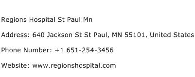 Regions Hospital St Paul Mn Address Contact Number