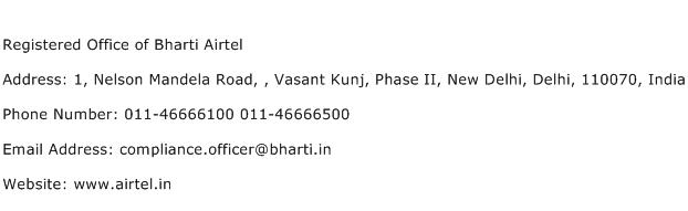 Registered Office of Bharti Airtel Address Contact Number