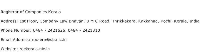 Registrar of Companies Kerala Address Contact Number