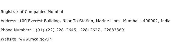 Registrar of Companies Mumbai Address Contact Number