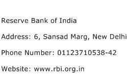 Reserve Bank of India Address Contact Number