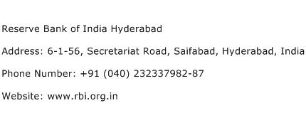 Reserve Bank of India Hyderabad Address Contact Number