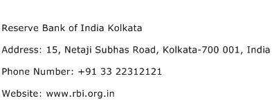 Reserve Bank of India Kolkata Address Contact Number