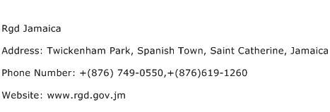 Rgd Jamaica Address Contact Number
