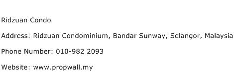Ridzuan Condo Address Contact Number