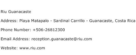 Riu Guanacaste Address Contact Number