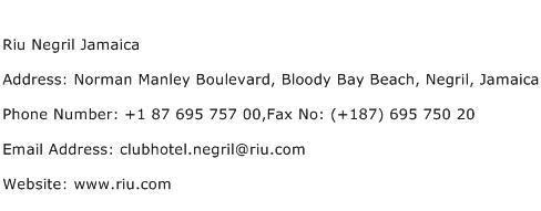 Riu Negril Jamaica Address Contact Number
