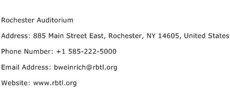 Rochester Auditorium Address Contact Number