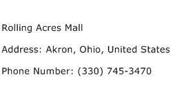 Rolling Acres Mall Address Contact Number